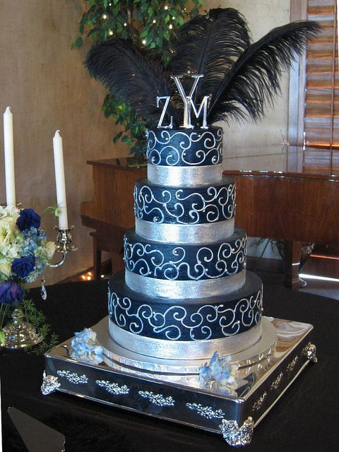 navy blue and purple wedding cakes blue and silver wedding cake flickr photo 17759