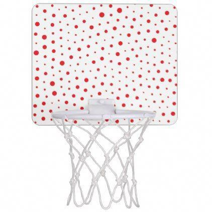 Elegant Modern Polka Dots -Red- Customize BG Mini Basketball Hoop