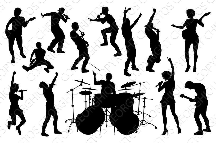 Musicians Rock Pop Band Silhouettes Band Musician Guitarist