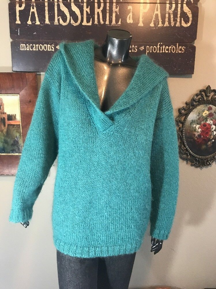 e124d7b874 Nordstrom Vintage Turquoise Mohair V Neck Hoodie Oversized Large Sweater  Jacket