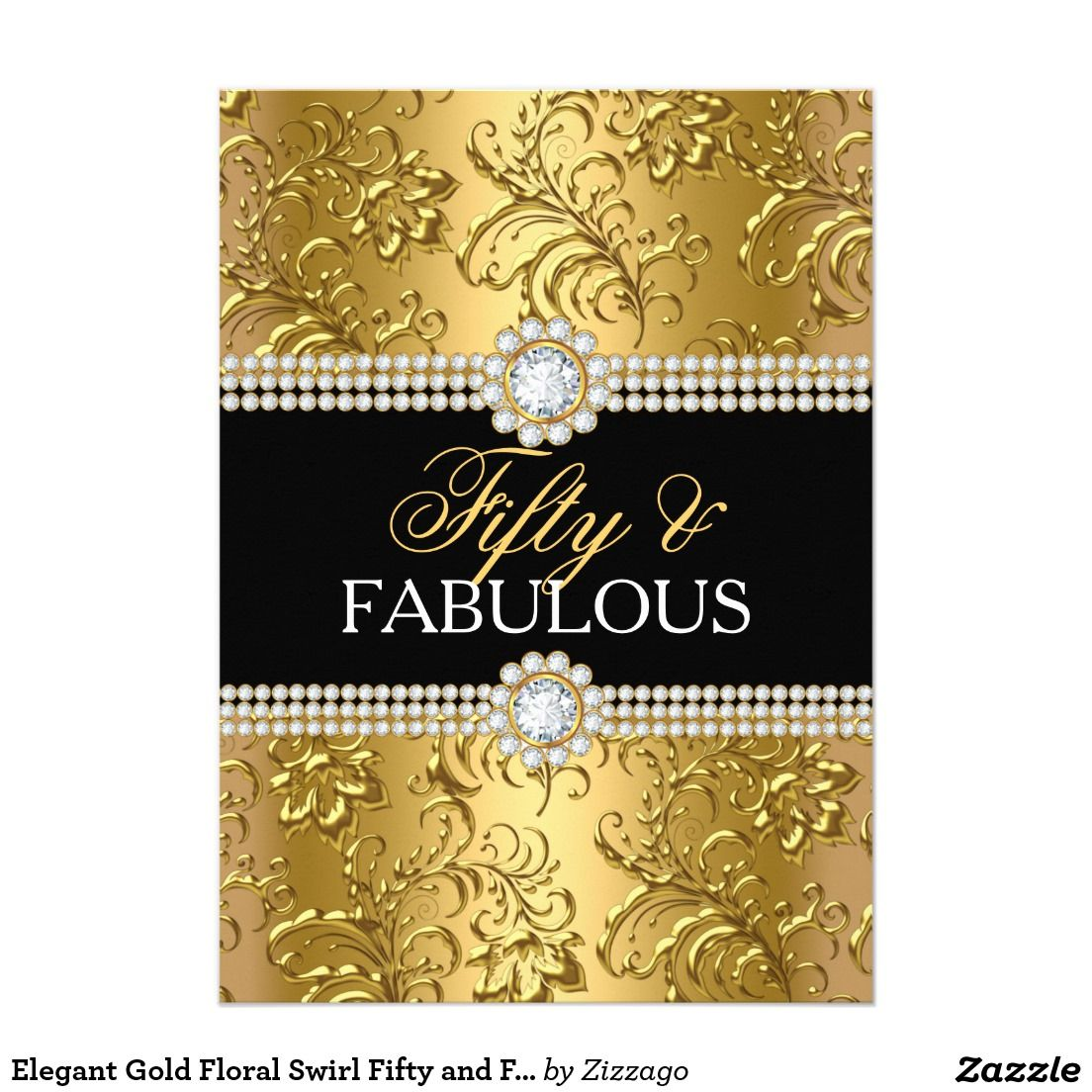 Elegant Gold Floral Swirl Fifty and Fabulous Party Card Elegant