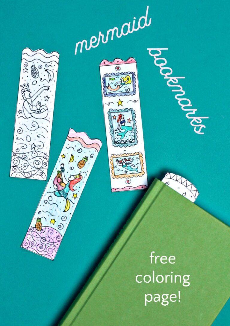 Mermaid Bookmarks DIY Cute Printable Coloring Page
