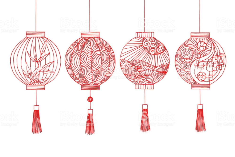 Hand Drawing Chinese Lantern And Japanese Lantern With Line Art Pattern Art Lantern Drawing Chinese Drawings