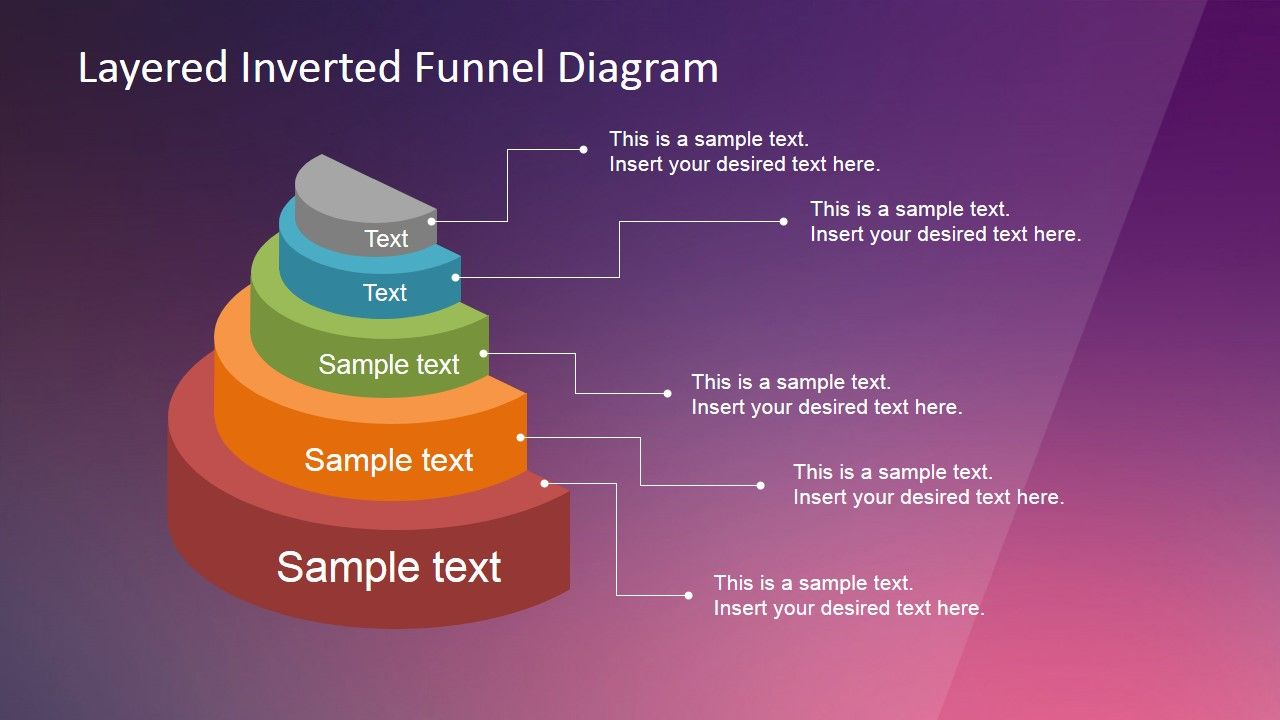 Layered Inverted Funnel Diagram Powerpoint