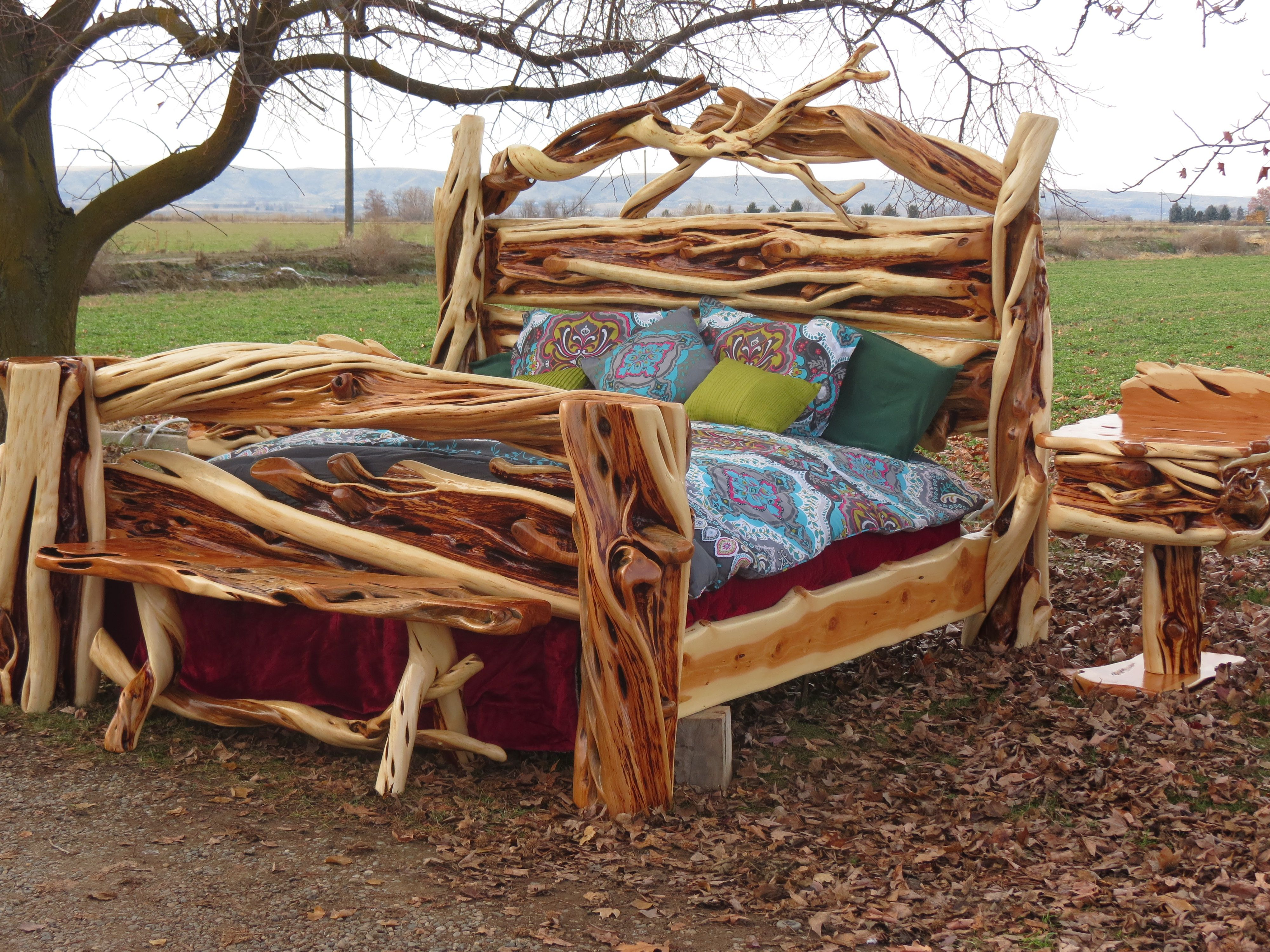 The Twists And Curves Of This Gorgeous King Slab Juniper Log Bed