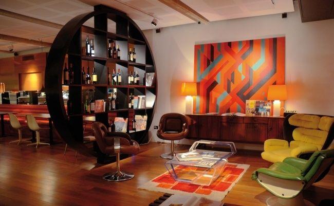 einrichtung retro stil 60er jahren möbel farben orange holz ... - Retro Mobel Wohnzimmer