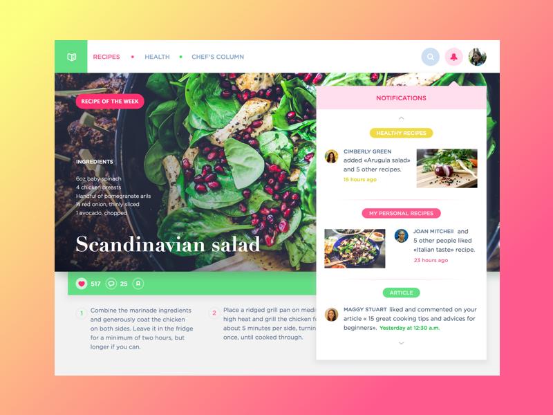 Cooking Website by Ludmila Shevchenko for Tubik Studio