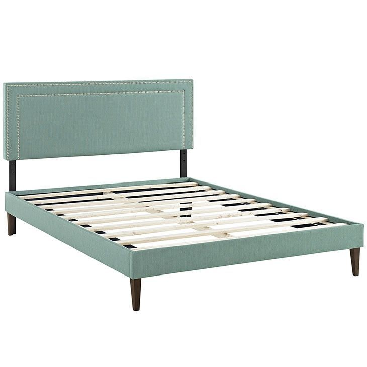 Modway Furniture Modern Jessamine Full Fabric Platform Bed with Squared Tapered Legs