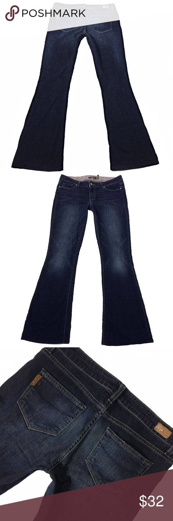 """Paige Denim """"Bell Canyon"""" SZ 29 Flare Mid-Rise Paige Denim """"Bell Canyon"""" Junior's*SZ 29*Flare Mid-Rise Dark Stretch*Inseam 32.5"""" Paige Jeans Jeans Flare & Wide Leg"""