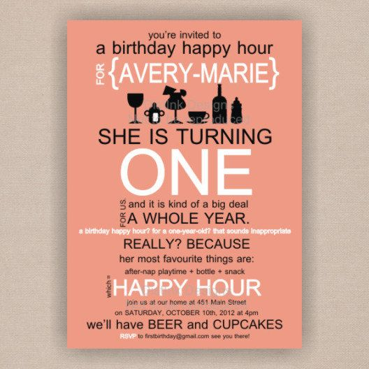 Happy Hour Babys First Birthday Invitation By DistInkDesigns Via