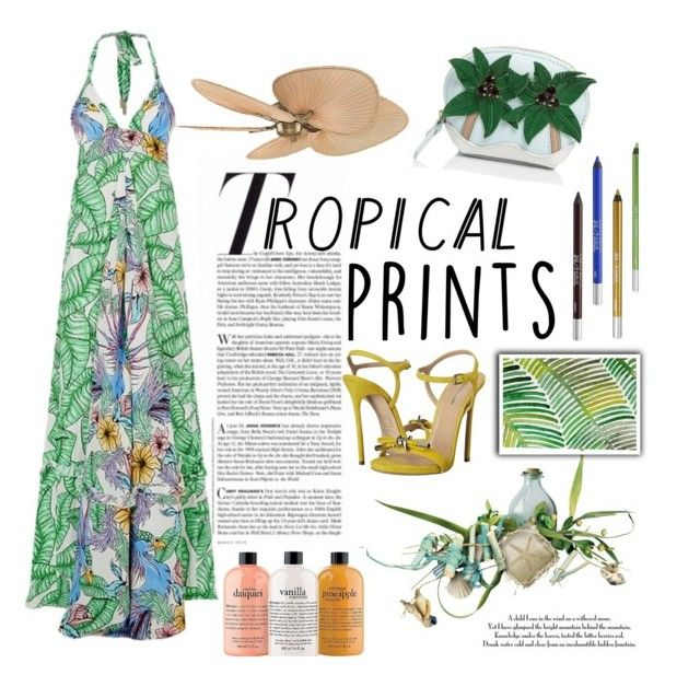 """""""Hot Tropics (Exotic Halter)"""" by lovelyblk ❤ liked on Polyvore featuring Vanity Fair, Lazul, Kate Spade, Fanimation, philosophy, Urban Decay, Dsquared2, tropicalprints and hottropics"""