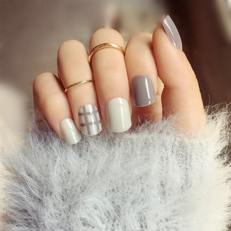 Grey Stripe Elegant False Nails/fake Nails | Grey, Stripes and Products
