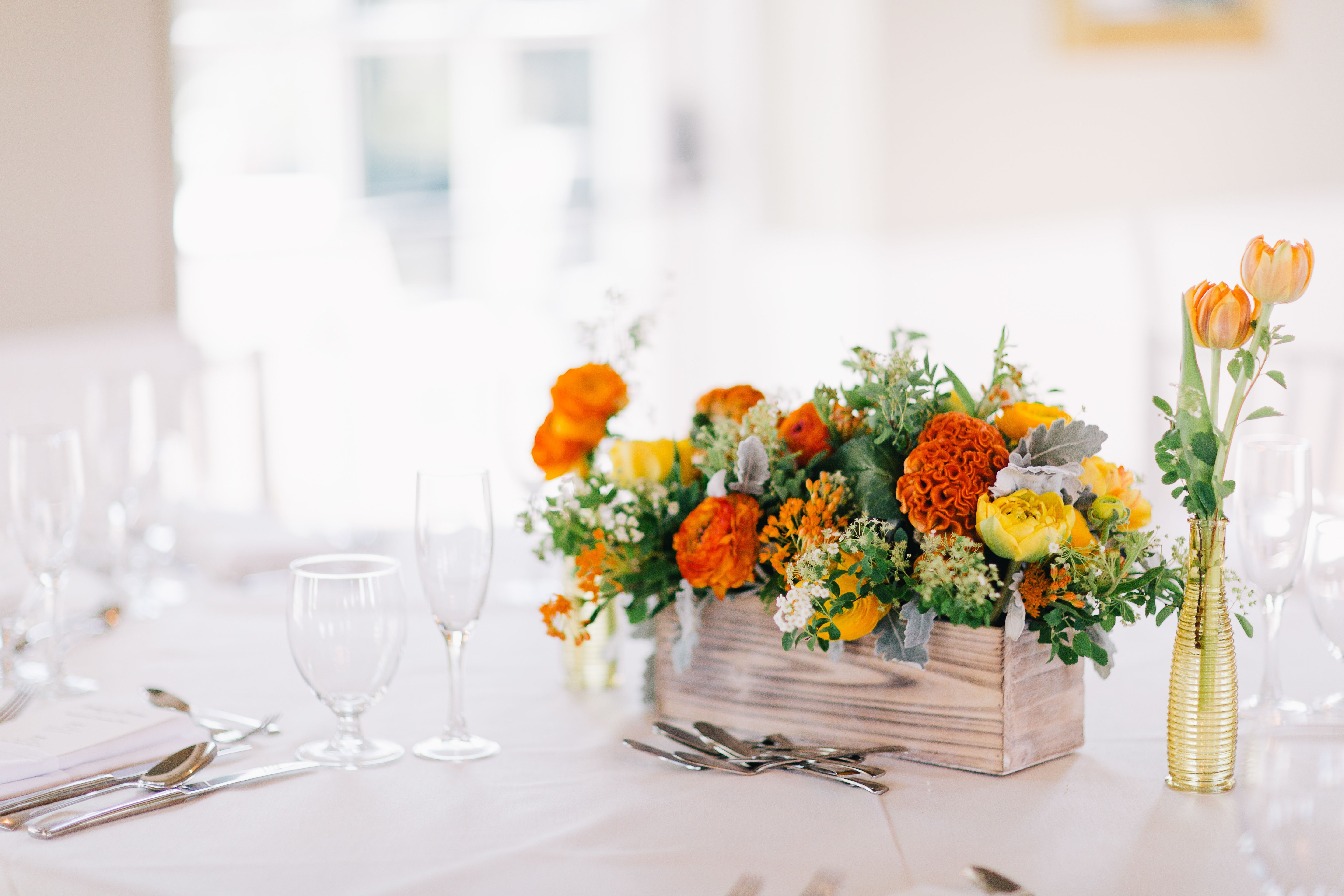 Orange and Green Floral Centerpiece in Wood Planter | Our wedding ...