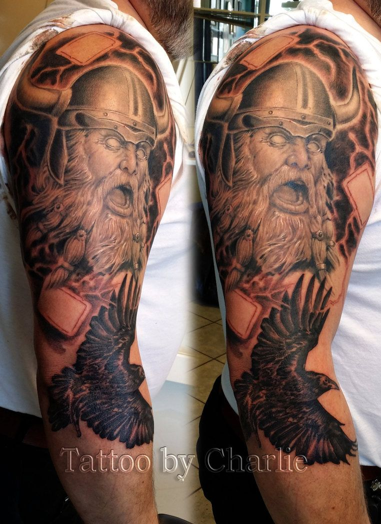 viking sleeve in progress tattoo by gettattoo on. Black Bedroom Furniture Sets. Home Design Ideas