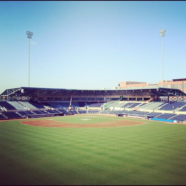80 Degrees Blue Skies And A Beautiful Field At The Durham Bulls Athletic Park Let S Play Two Minor League Baseball Baseball Field Ballparks