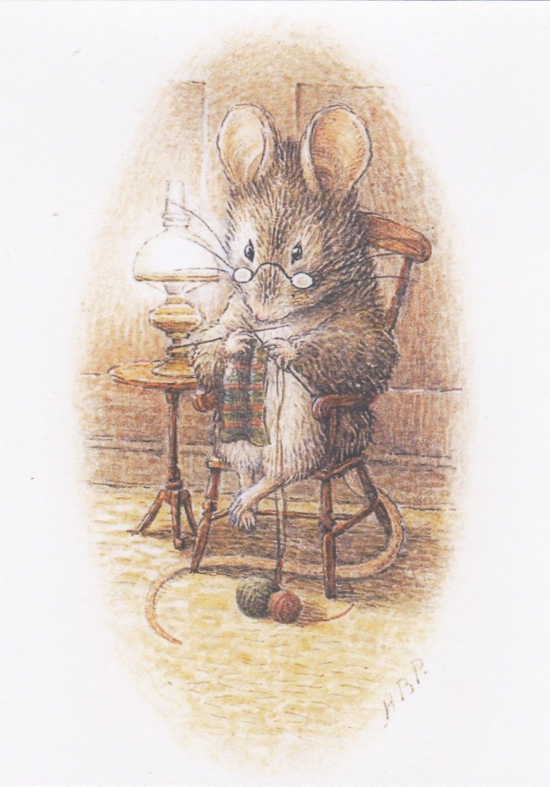 RARE BEATRIX POTTER Mouse knitting needlework unposted modern ...