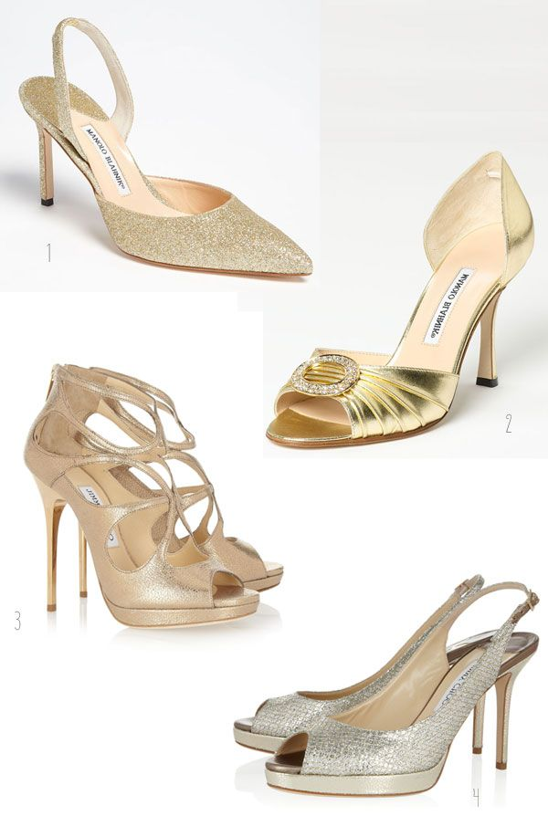 Lovely Gold And Glitter Wedding Shoes