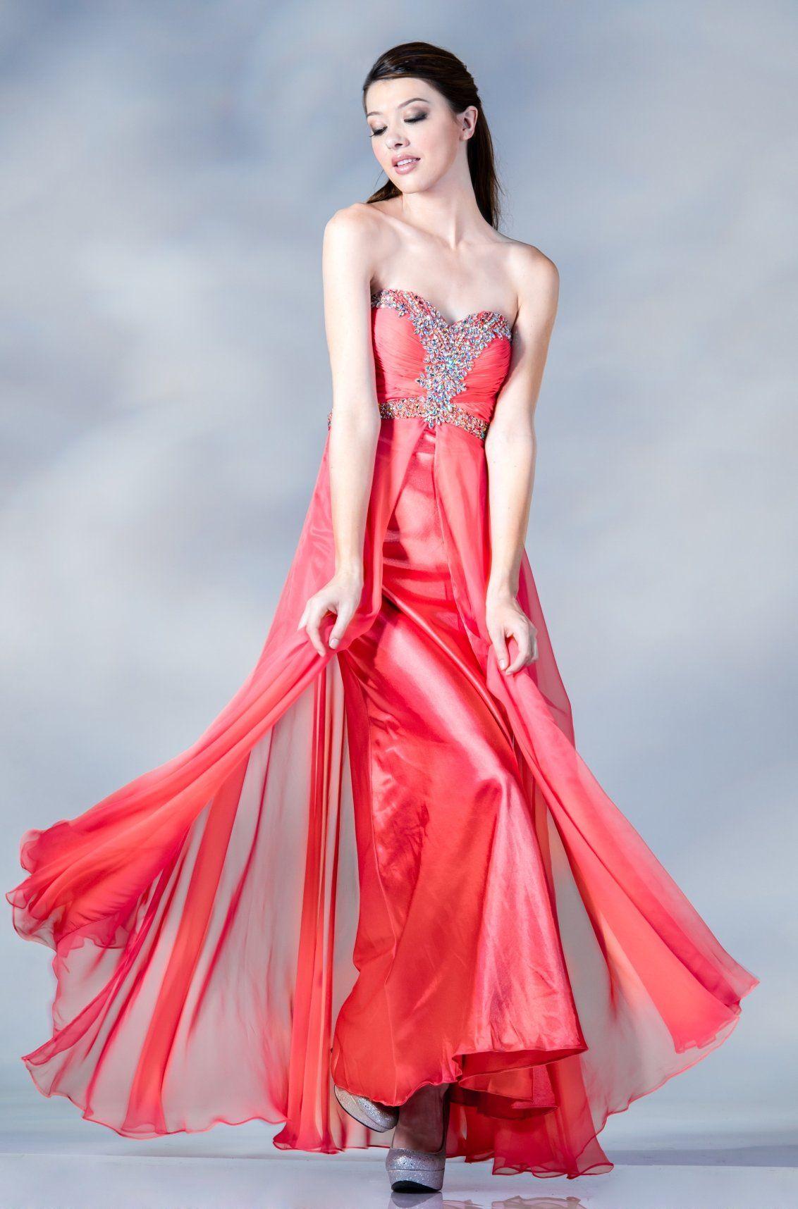 CLEARANCE - Empire Waist Coral Chiffon Flowy Dress Empire Waist ...