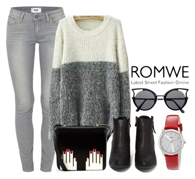 """White Grey Round Neck Shaggy Knit Sweater ROMWE"" by milovanovic ❤ liked on Polyvore featuring Paige Denim, Lulu Guinness, N.Y.L.A. and Timex"