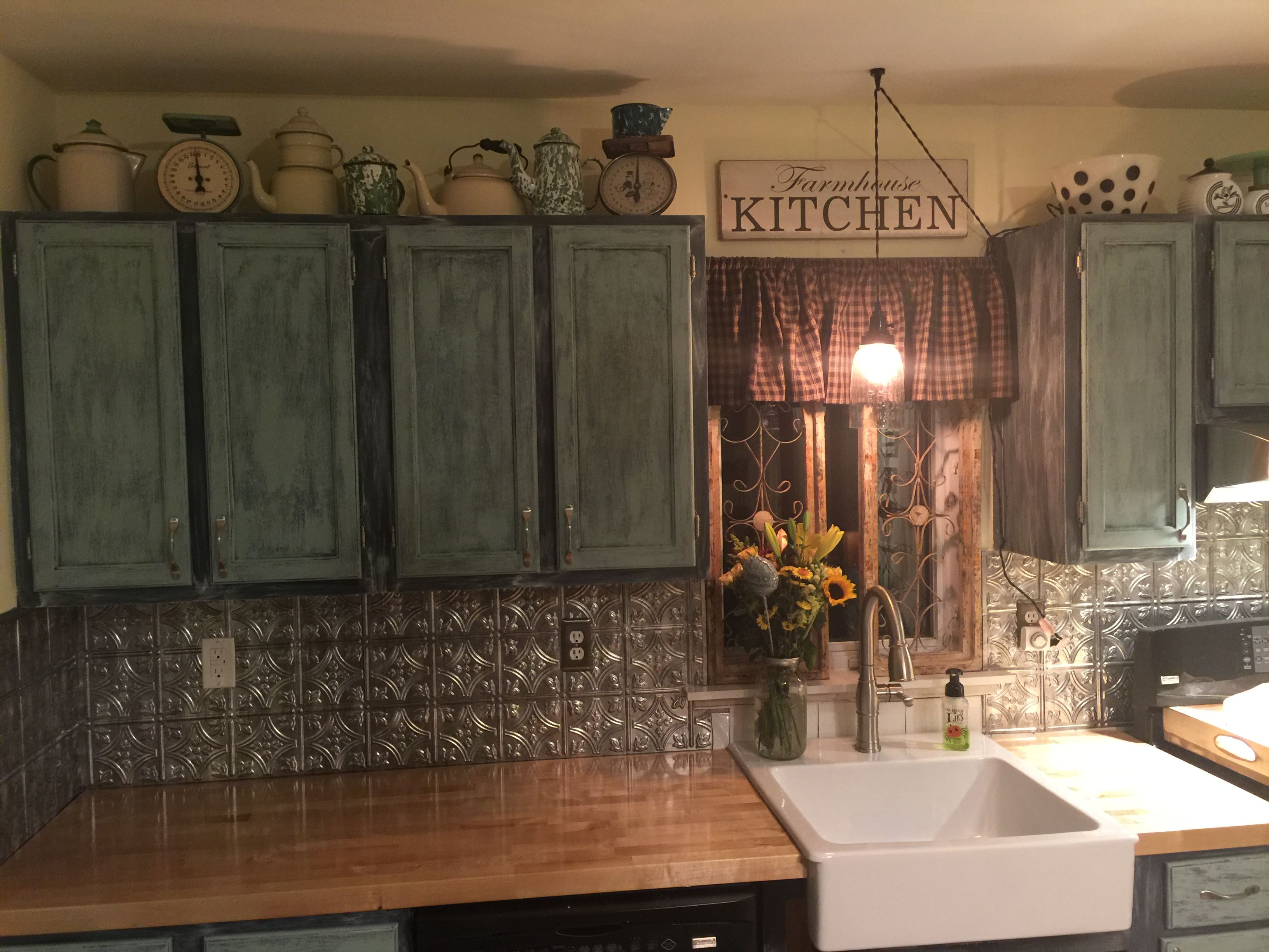 Finally Complete Tin Backsplash And A Farm Sink Complemented By