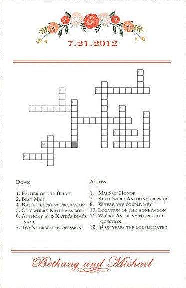 the perfect icebreaker youll definitely get guests talking with this cute and custom crossword puzzle 35