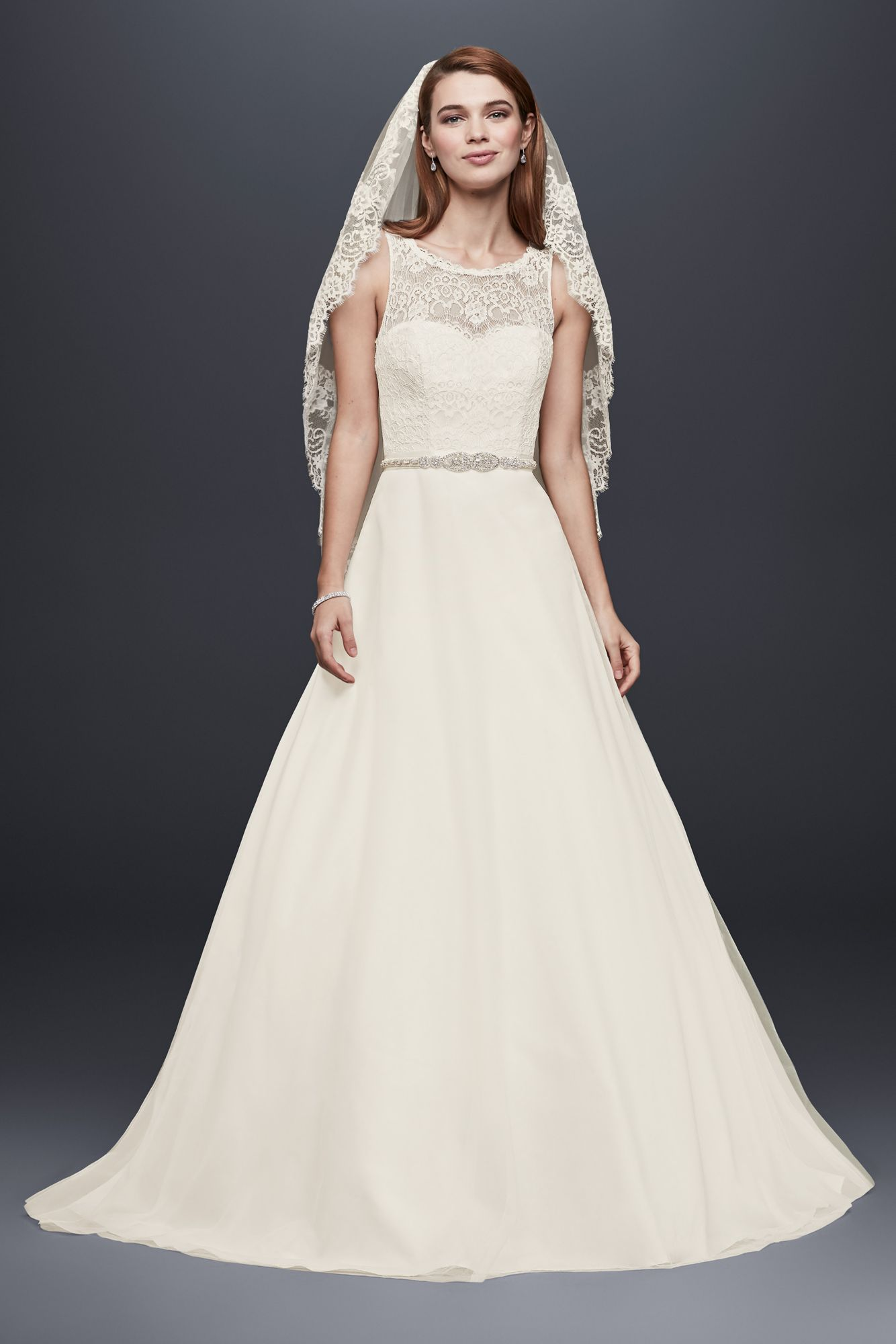 Illusion lace wedding dress  Illusion Lace Tank ALine Gown with Tulle Skirt Style WG