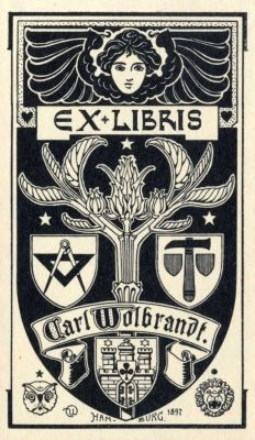 Bookplate by Karl Wolbrandt for Himself, 1897