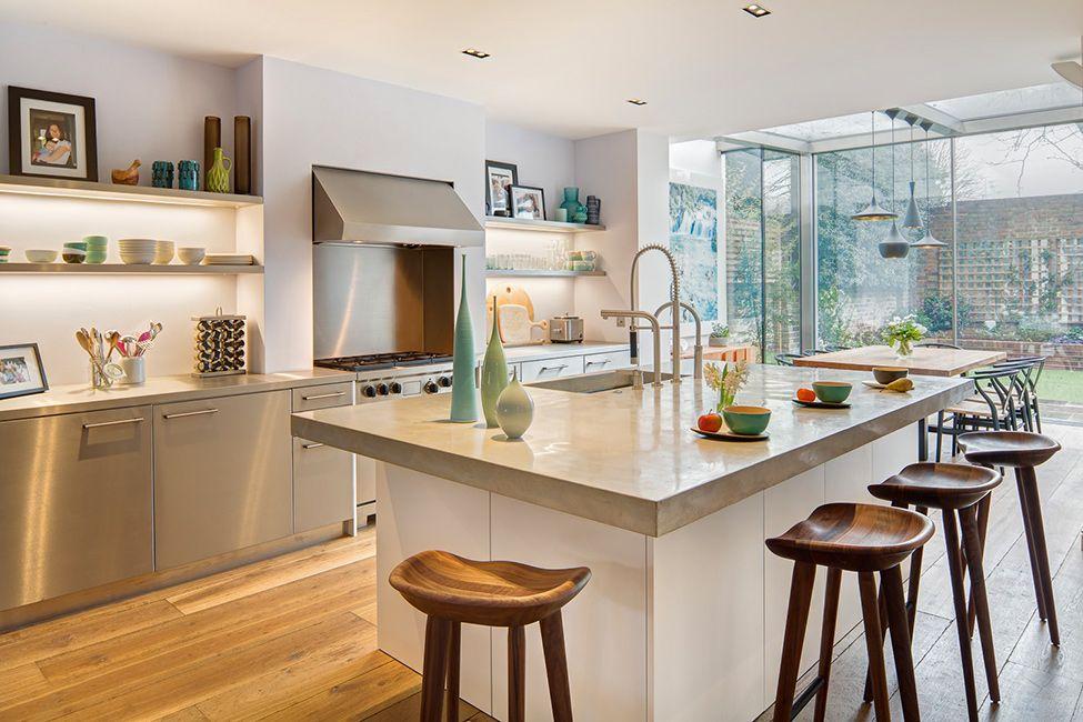 A Cheerful House In London Inspiring Good Mood. Wood Bar StoolsKitchen ...