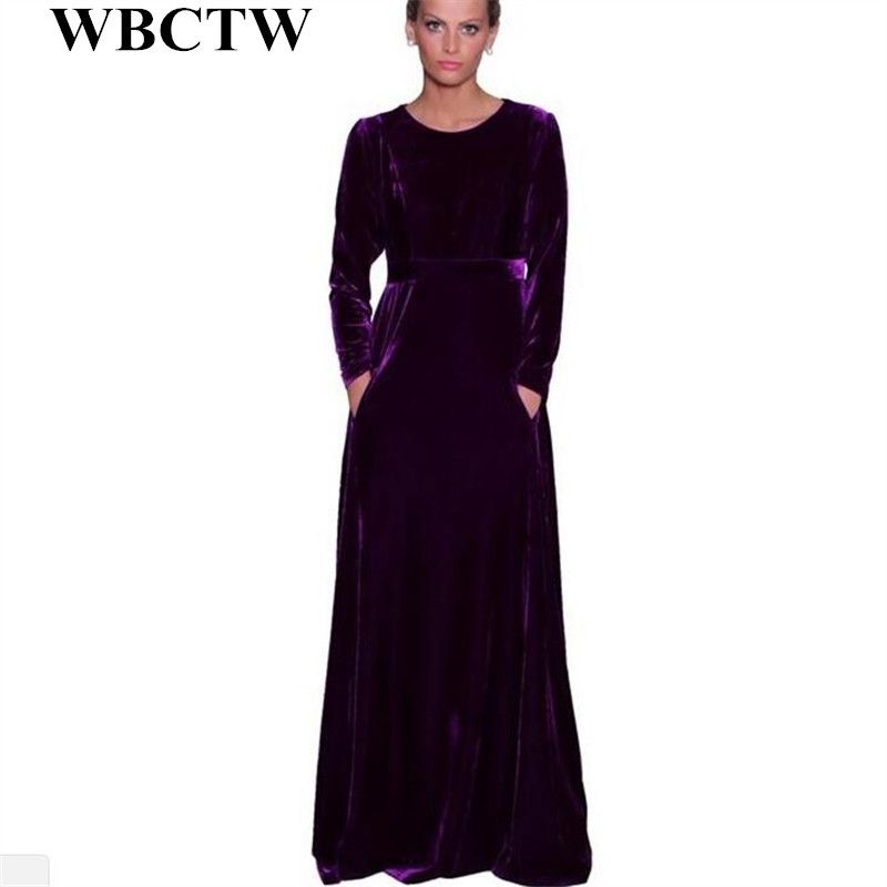 1c6d844f597 Maxi Velvet Dress High Waist Casual Solid Party Dress Long Sleeve Elegant Autumn  Spring Plus Size Dress 2017 New Woman Dress-in Dresses from Women s ...