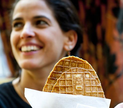 Désiré de Lille - the best place for waffles, take-away shop and lunch room. Particularly good are Lacquemants waffles (pic) flavoured with orange flower water.