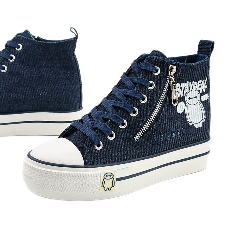 Granatowe Sneakersy Na Koturnie Sznurowane Lynnhurst Converse Chuck Taylor High Top Sneaker Chucks Converse High Top Sneakers