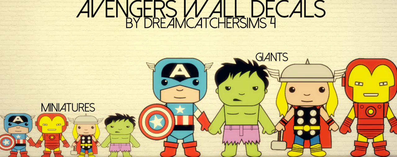 My Sims 4 Blog: Avengers Wall Decals by DreamCatcherSims | The Sims ...