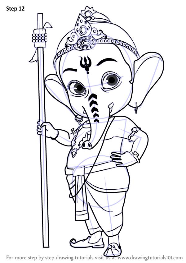 Learn How To Draw Bal Ganesh Hinduism Step By Step Drawing Tutorials Ganesha Drawing Disney Art Drawings Art Drawings Simple