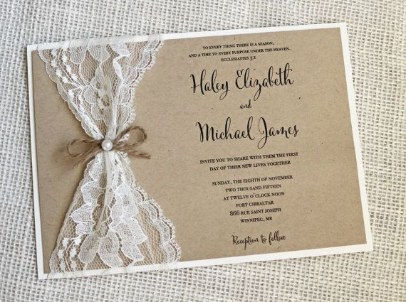Rustic Wedding Invitation Lace Shabby Chic Vintage Stationary