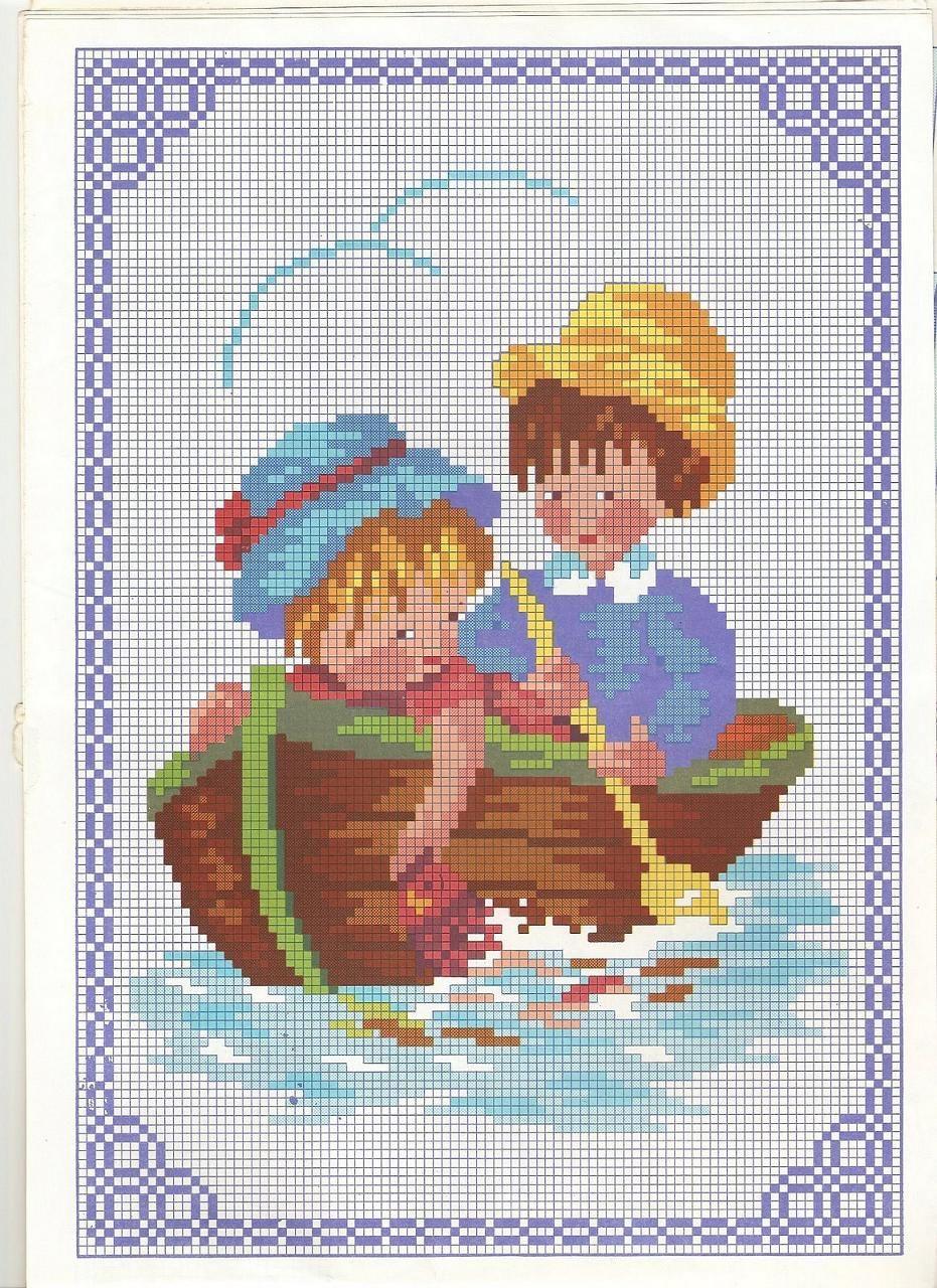 Schema punto croce bambini in barca punto croce for Punto a croce bambini