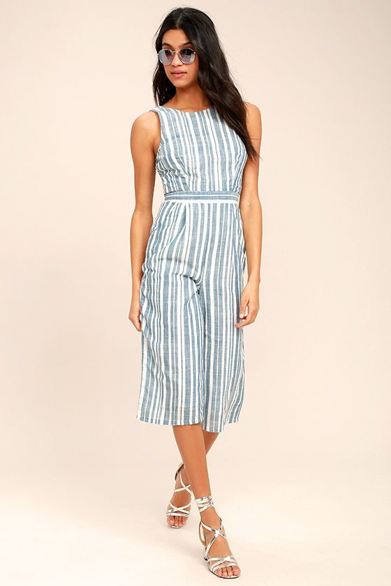 My Dearest Blue and White Striped Midi Jumpsuit