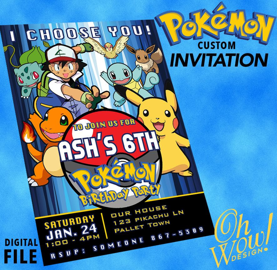 Pokemon: Theme Party Invitation by OhWowDesign on Etsy