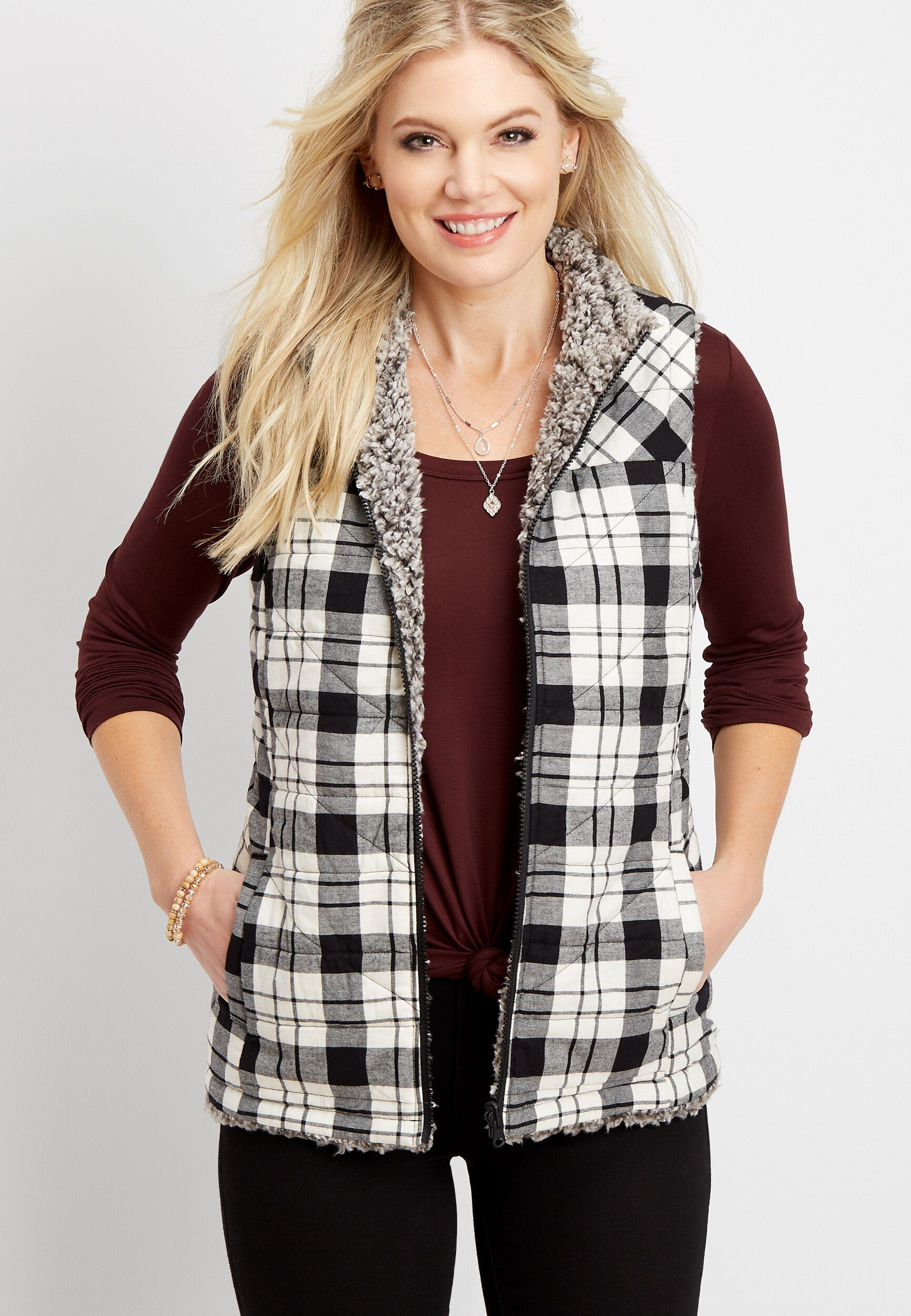 maurices Womens Plus Size Plaid Puffer Vest