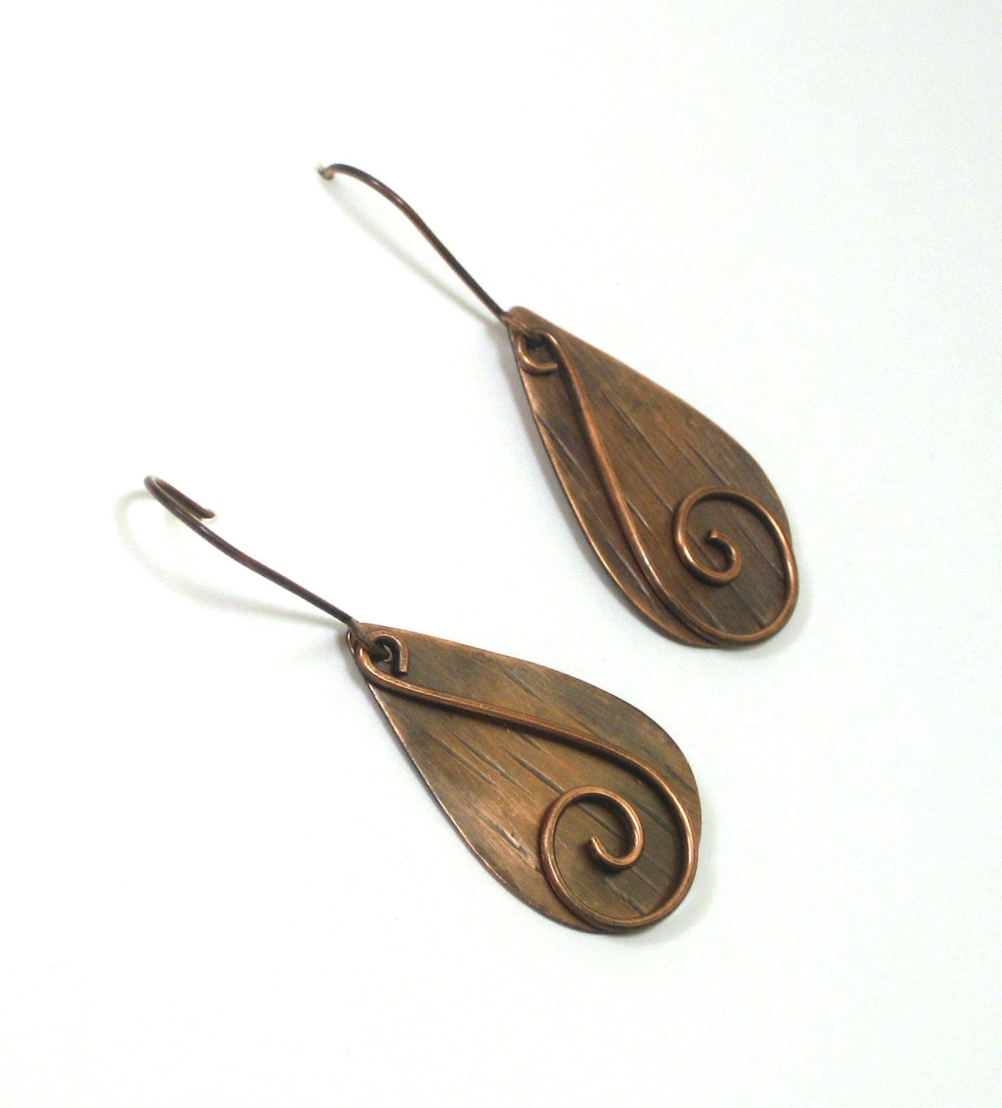 Copper dangle earrings with swirl layered design. BDJ Designs on ...