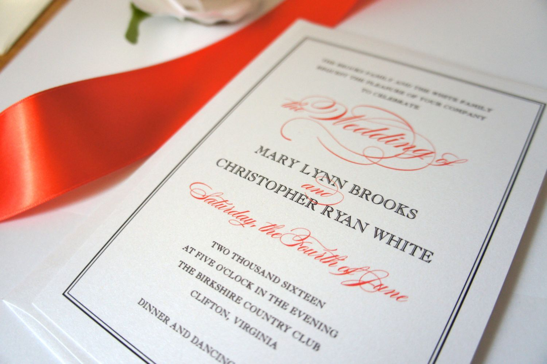 Coral Wedding Invitation - DEPOSIT