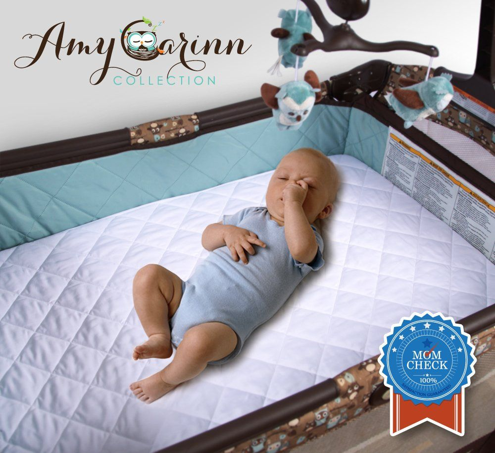 Best baby crib mattress pad - Acc Pack N Play Crib Mattress Pad Cover Fits All Mini Cribs Waterproof Dryer Friendly Lifetime Warranty Best Fitted Crib Protector