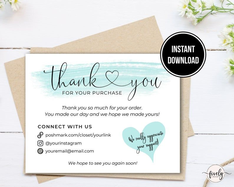 Poshmark Thank You Cards Note Template Printable Poshmark Etsy In 2021 Thank You Card Template Thank You Cards Thank You Note Template