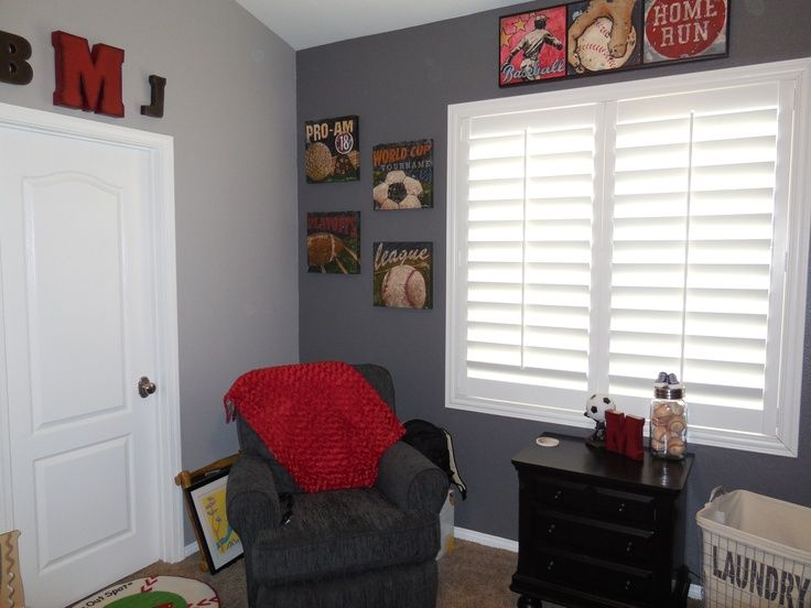 Vintage Sports Nursery Grey Walls With Red Accents Sports