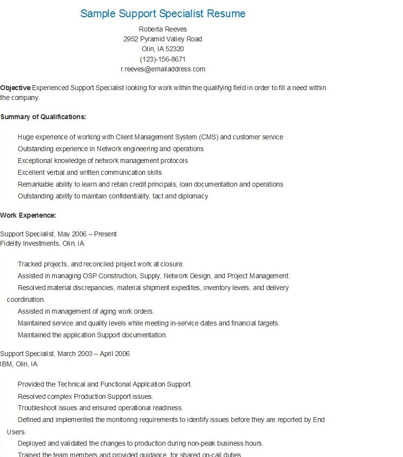 Sample Support Specialist Resume