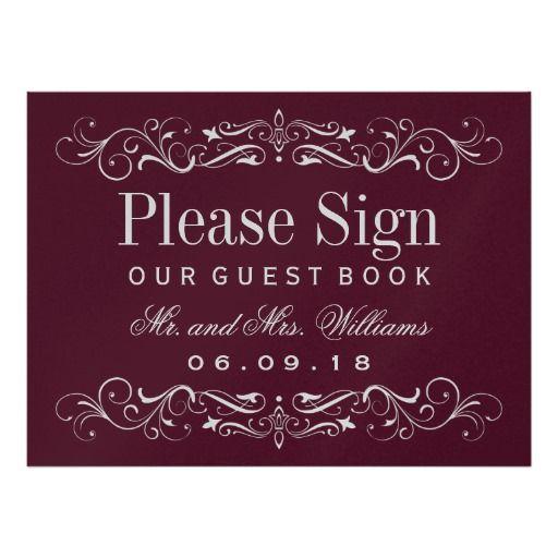 Wedding Guest Book Sign | Silver Elegant Flourish