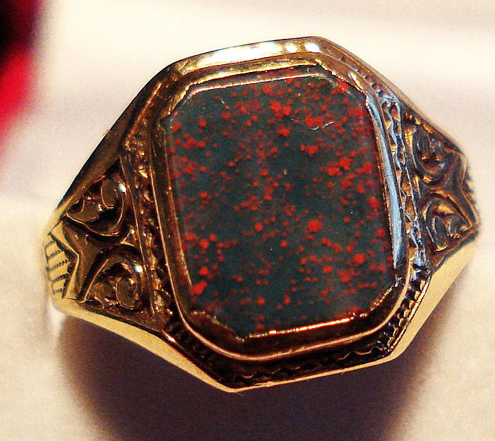 Victorian Mens Bloodstone Ring with Classic Mounting