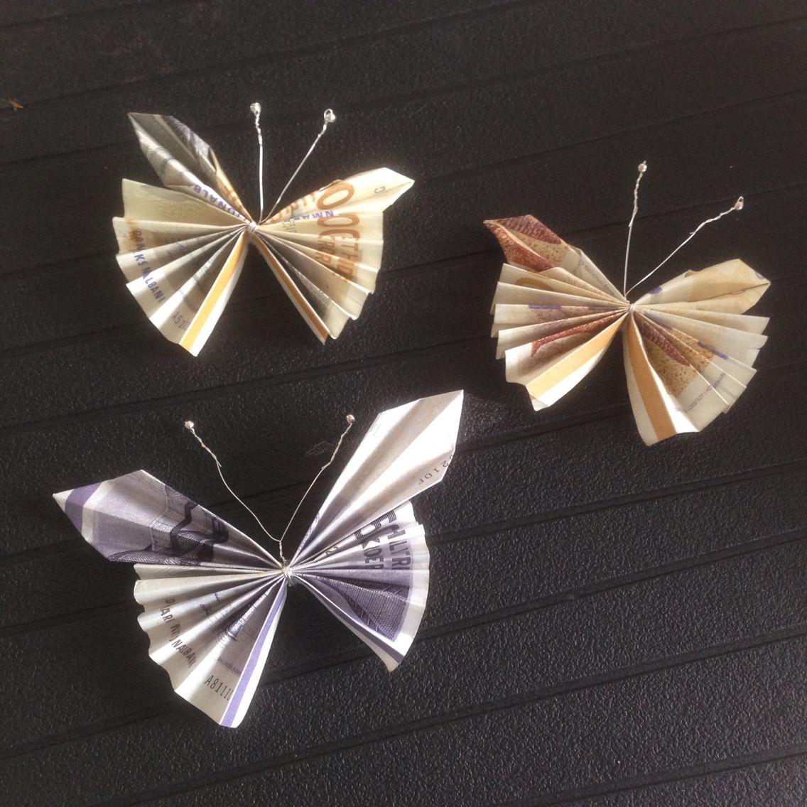 folde pengesedler sommerfugl
