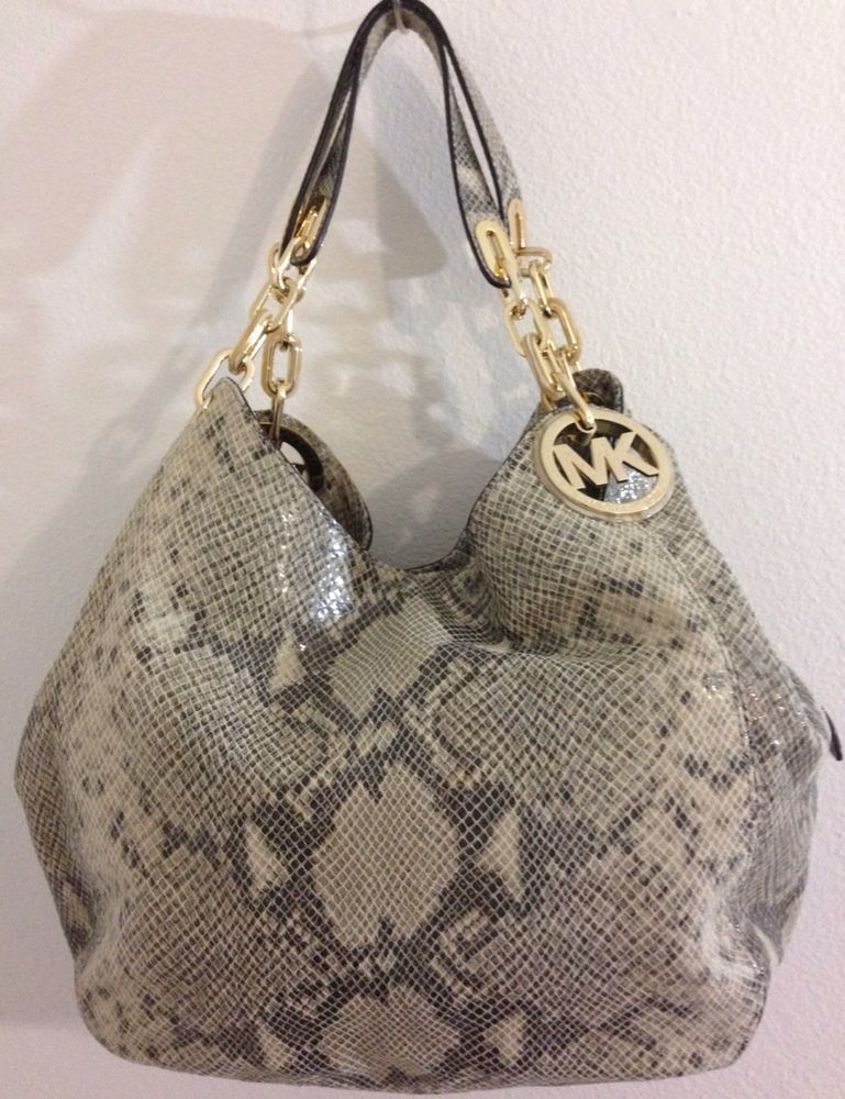 834fbcc3895c  428 NWT Michael Kors Fulton Large Shoulder Tote Snake-Embossed Cowhide  Angora