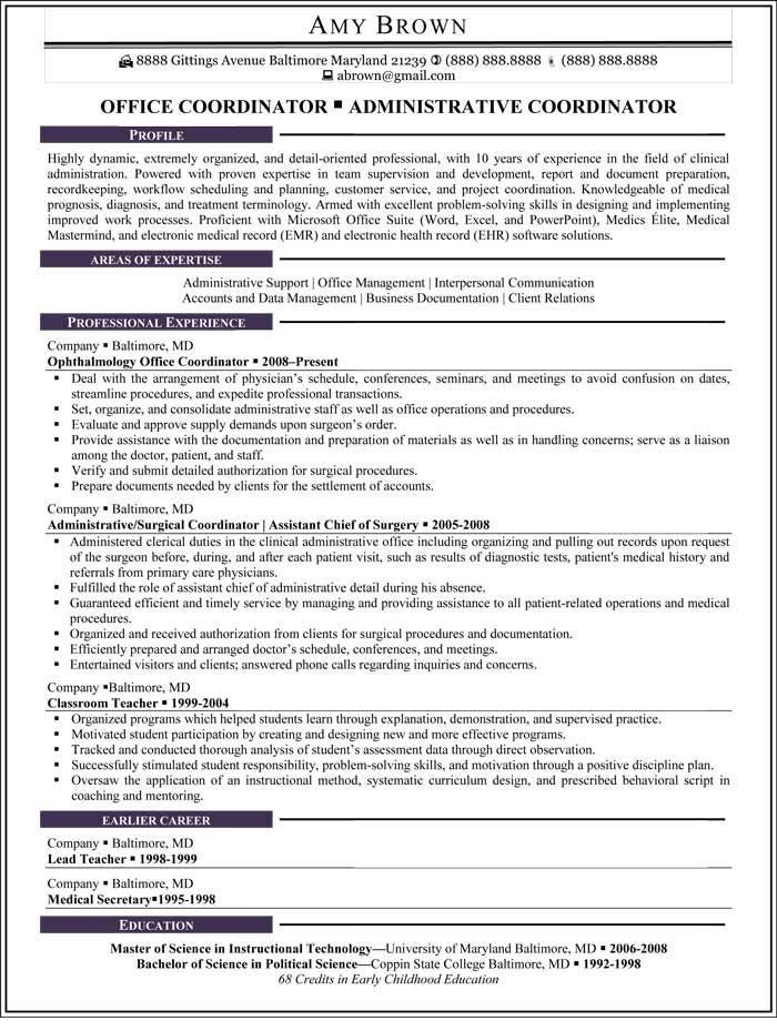 OfficeCoordinator Resume Sample  Resume Samples