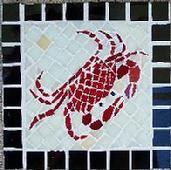 mosaic,crab,crustacean,ocean,sea,coast,glass,tile,